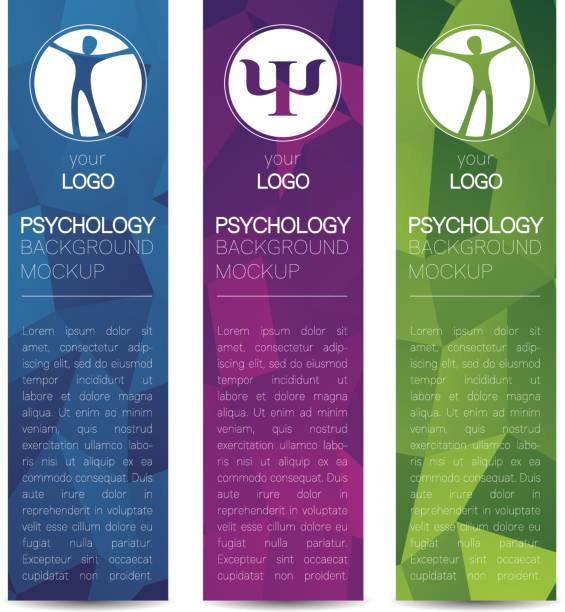 Vector Psychology Web banner design background or header Templates. Psi sign. Symbol and icon, icon. Profile Human. Creative style. Brand company concept. Blue violet green color book vector art illustration
