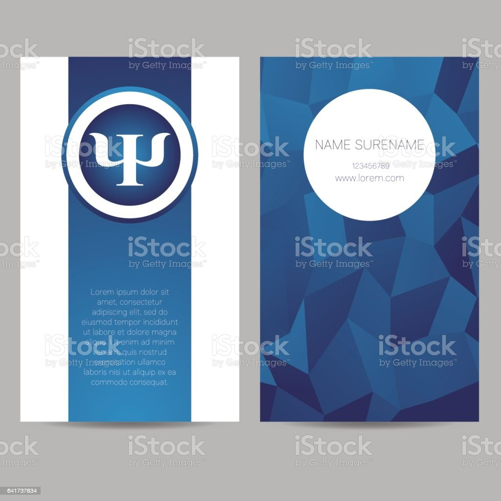 Vector Psychology Web banner design background or header Templates. Psi sign. Symbol and icon, icon. Creative style. Brand company concept. Blue color