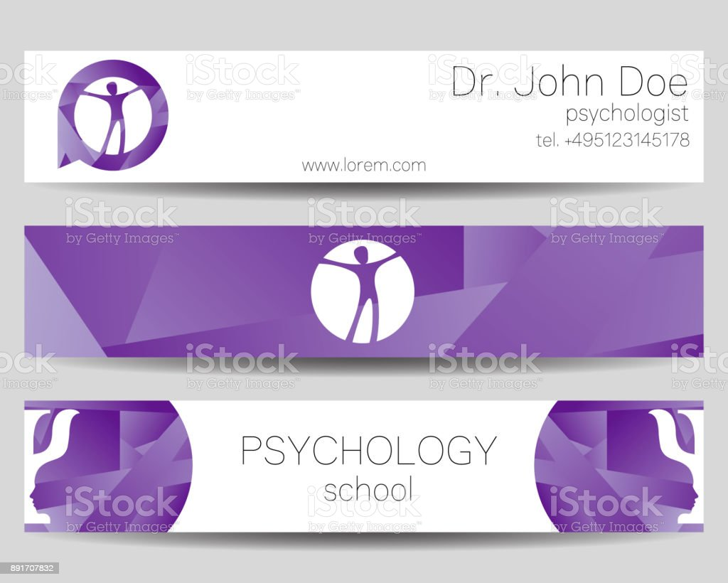Vector Psychology Web banner design background or header Templates. Psi symbol. Sumbol and icon, symboltype. Profile Human. Creative style. Brand company concept. Violet trend color