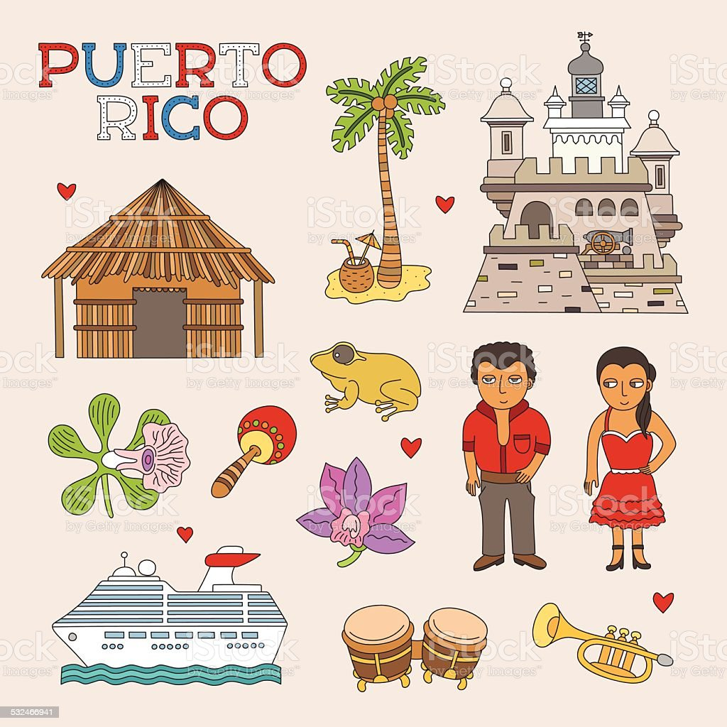 Vector Puerto Rico Doodle Art for Travel and Tourism vector art illustration