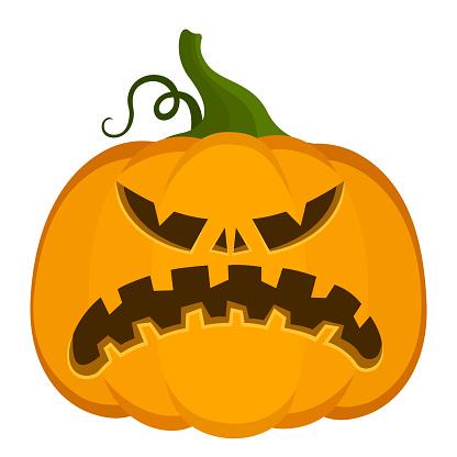 Vector pumpkin for Halloween. Cartoon style. Autumn bright holiday symbol.