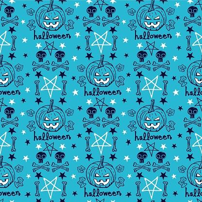 Vector pumpkins skulls bones blue seamless pattern