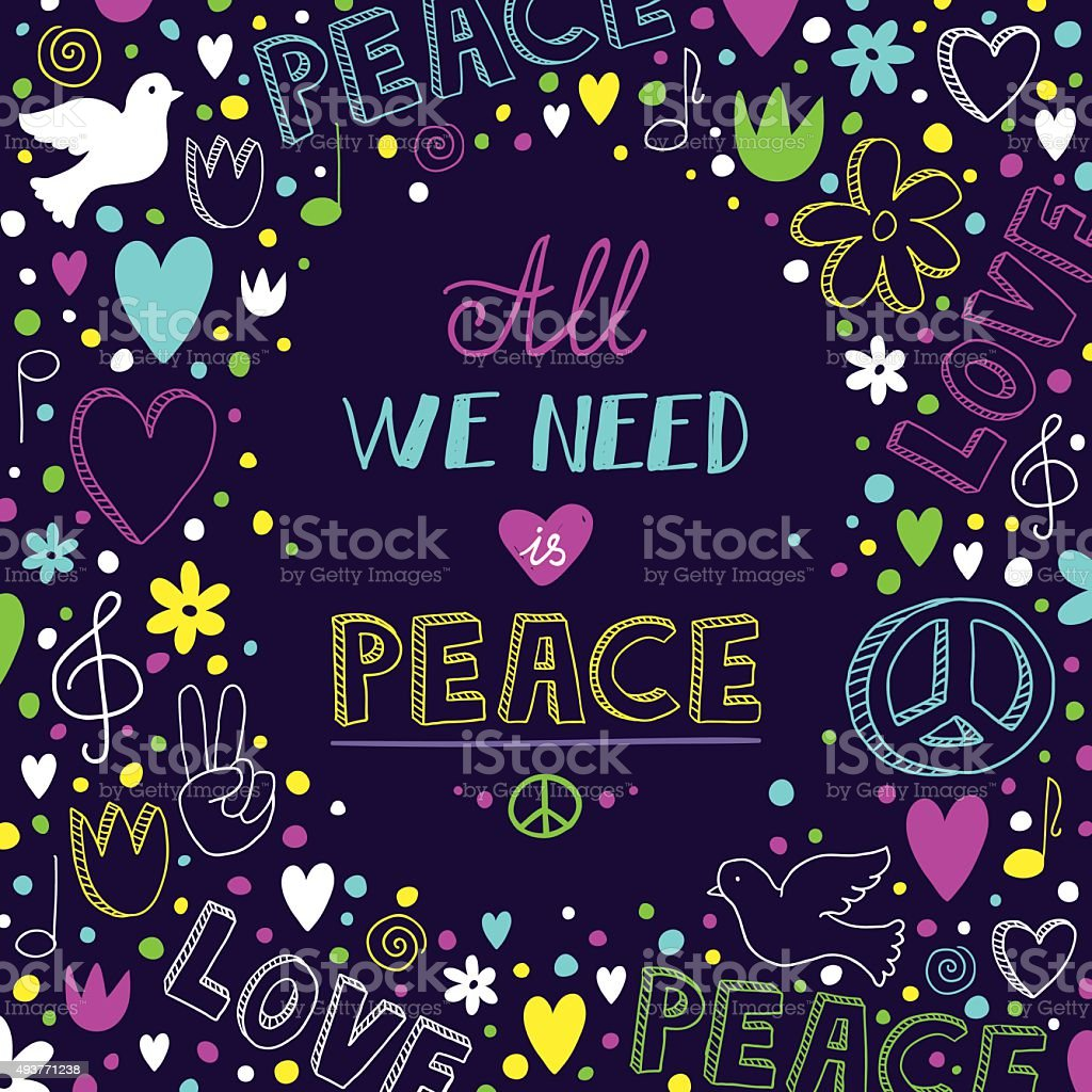 vector purple love and peace theme background with neon