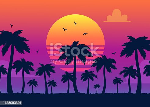 istock Vector purple sunset on palm icons backdrop 1158093391