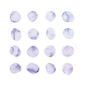 Vector purple watercolor spots. Stained petals. Hand painted circles set.