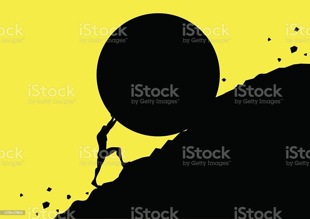 Vector Pushing a Ginat Rock Uphill Silhouette vector art illustration