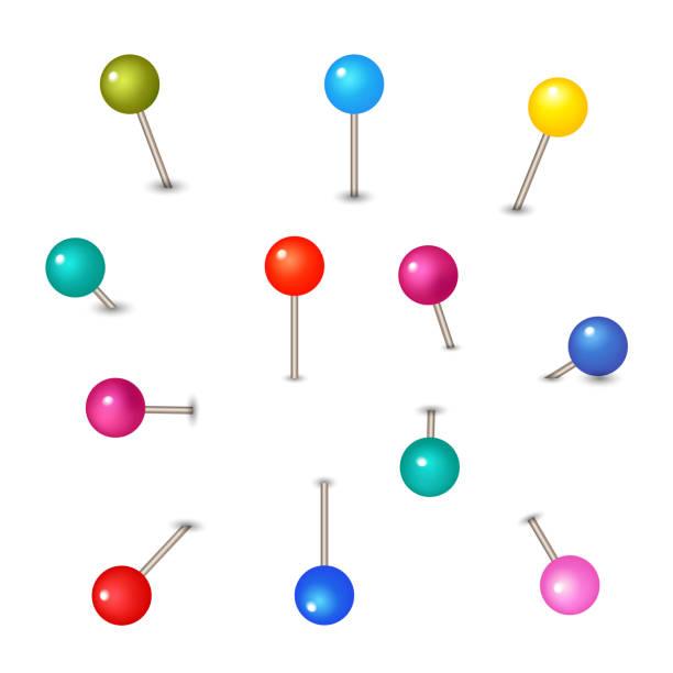 vektor-pins isoliert auf weißem hintergrund. push-pins für karte - heftzwecke stock-grafiken, -clipart, -cartoons und -symbole