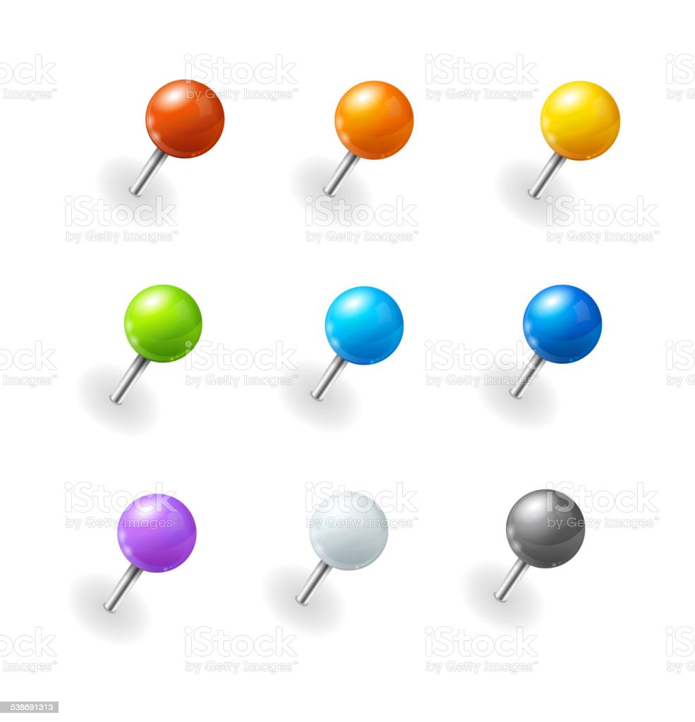 Vector pushpins set vector art illustration