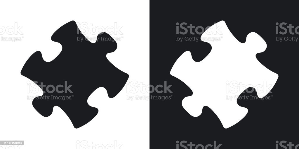 Vector puzzle icon. Two-tone version
