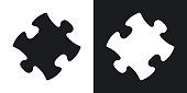 Vector puzzle icon. Two-tone version