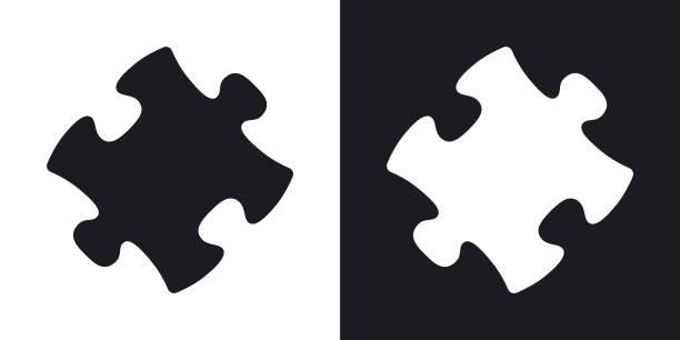Vektor-Puzzle-Symbol. Zweifarbige version – Vektorgrafik