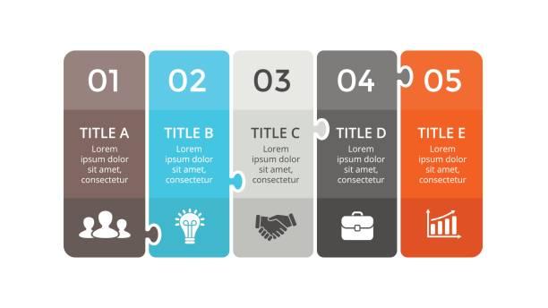 stockillustraties, clipart, cartoons en iconen met vector puzzel etiketten infographic, diagram, grafiek, grafiek van de presentatie. businessconcept met 5 stickers opties, onderdelen, stappen, verwerkt. abstracte banners - vijf dingen