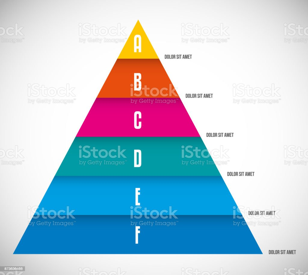 Vector Pyramid Chart Templates For Infographics With 6 Options Stock ...