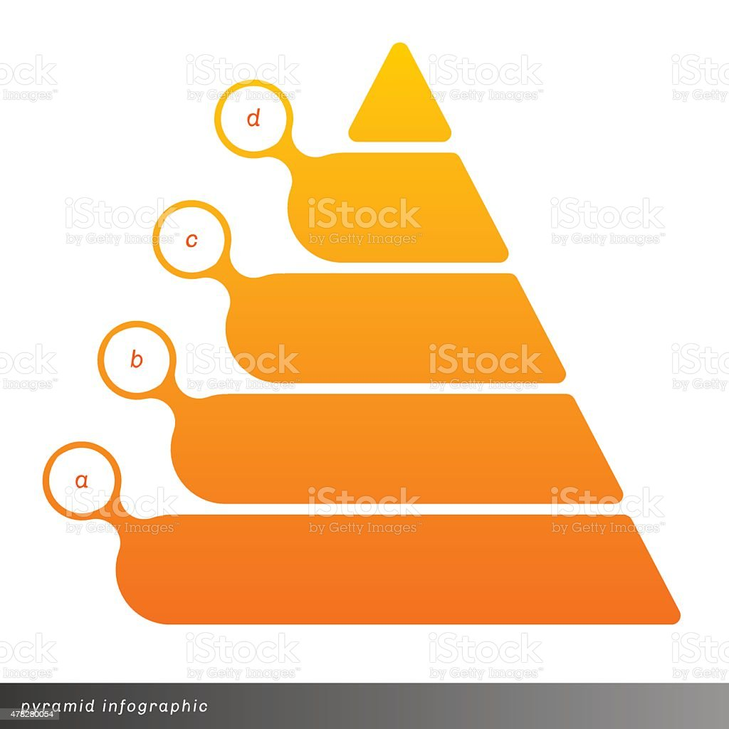 Vector pyramid infographic shows growth with gradient fill. vector art illustration