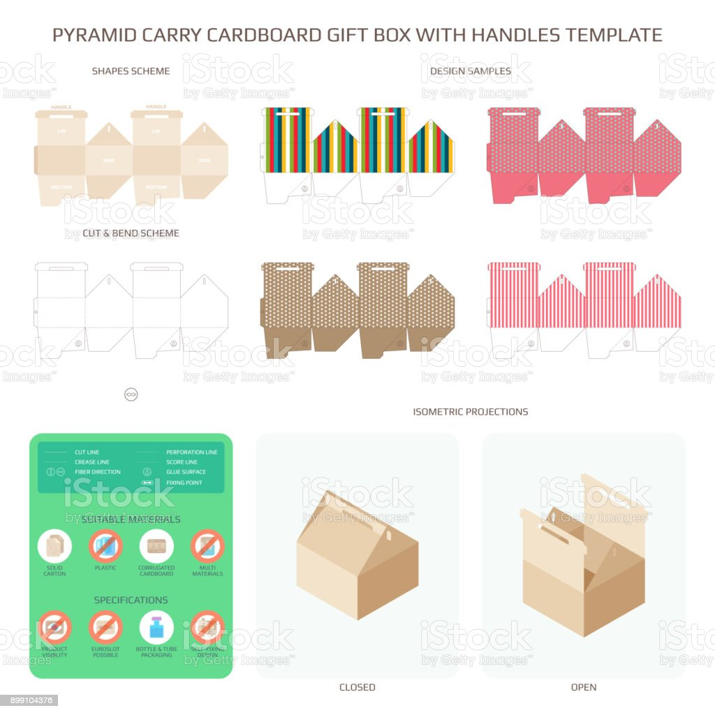 Vector Pyramid Style Carry Cardboard Gift Box With Handles Templates