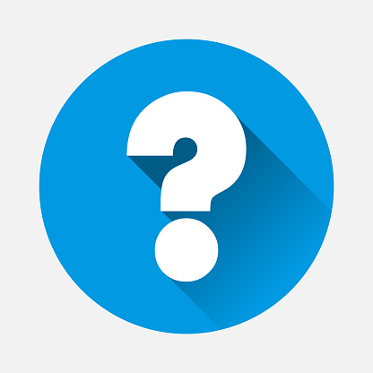 Vector question icon on blue background. Flat image question with long shadow.  Layers grouped for easy editing illustration. For your design.