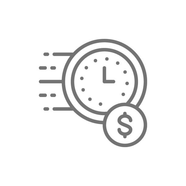 illustrazioni stock, clip art, cartoni animati e icone di tendenza di vector quick loan, fast deposit line icon. - facilità