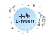 Vector quote of Hello Universe with decoration. Handwritten lettering with space elements and astronomers. Round badge.