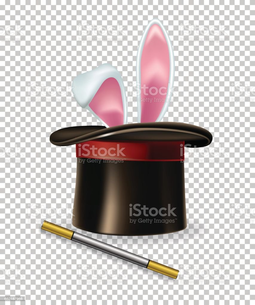 Vector rabbit ears, magic hat and magic wand. vector art illustration