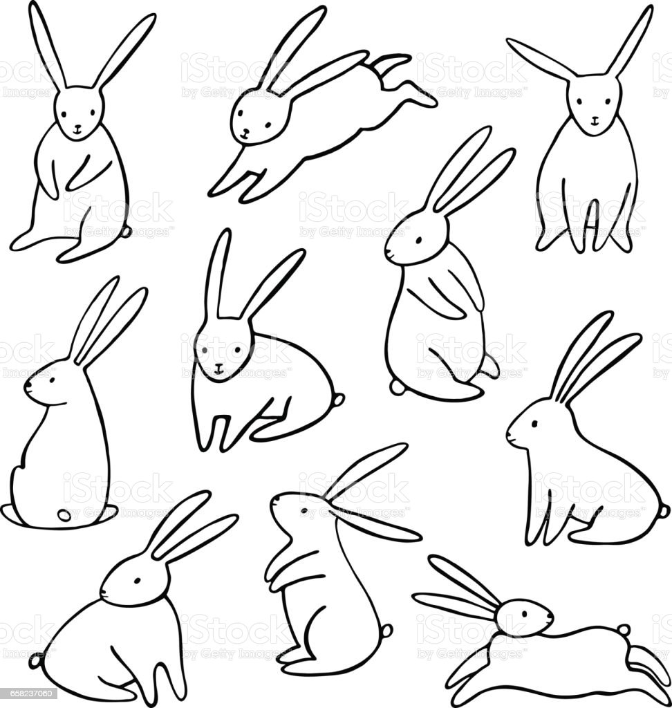 simple cartoon bunny isolated royalty free vector rabbit icons set - Simple Cartoon Pics