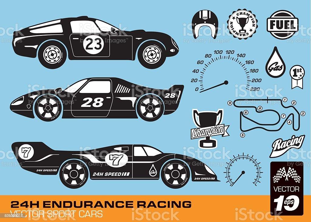 Vector race cars vector art illustration