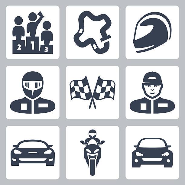 rennen-vektor-icons - sportschutzhelm stock-grafiken, -clipart, -cartoons und -symbole