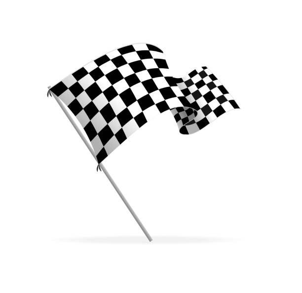 Vector Racing flag Isolated on white finishing stock illustrations