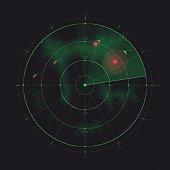 Vector radar screen, futuristic HUD radar display.