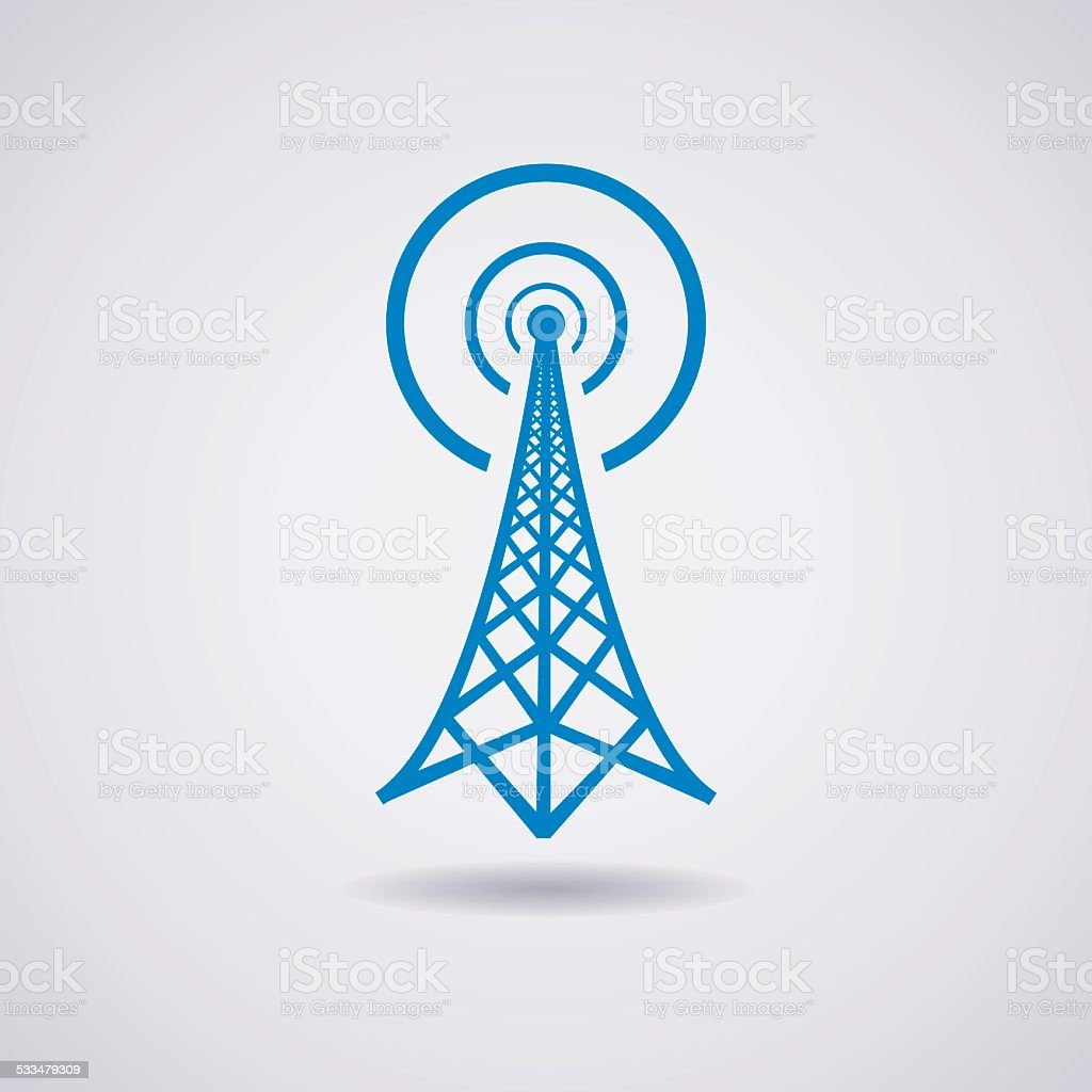 vector radio tower broadcast icon vector art illustration