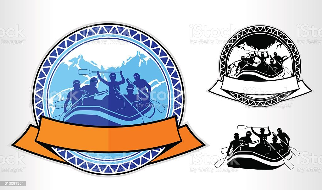 vector rafting emblem logo label vector art illustration