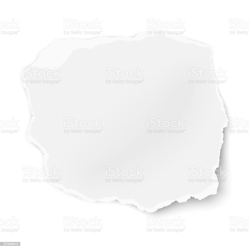 Vector ragged paper tear with soft shadow isolated on white background. Template paper design. vector art illustration