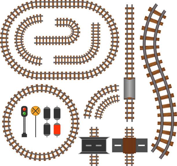 vector railroad and railway tracks construction elements - railroad track stock illustrations, clip art, cartoons, & icons