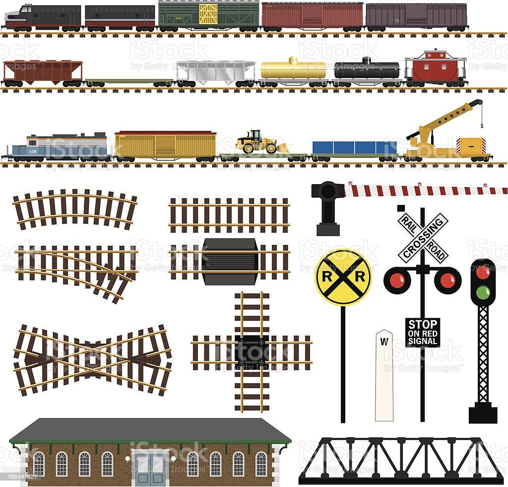 Vector Railroad Train Components vector art illustration