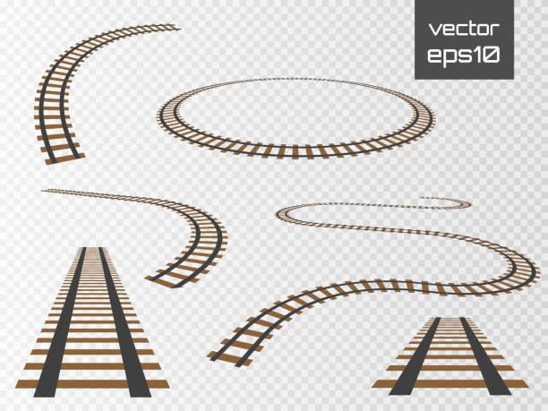 illustrations, cliparts, dessins animés et icônes de rails de vecteur défini. chemins de fer sur fond blanc. voie ferrée - voie ferrée