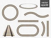 Vector rails set. Railways on white background. Railroad tracks