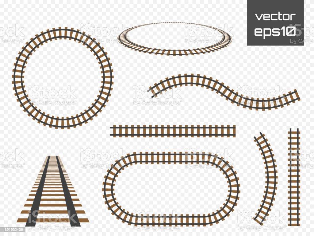 Vektor-Schienen gesetzt. Eisenbahnen auf weißem Hintergrund. Eisenbahnschienen – Vektorgrafik