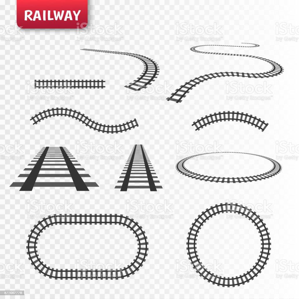 Vector rails set. Railways on white background. Railroad tracks vector art illustration