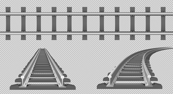 Train track, straight and turn railway in top and perspective view. Vector realistic set of tram line, road for locomotive and wagons with rails, fastening and concrete ties