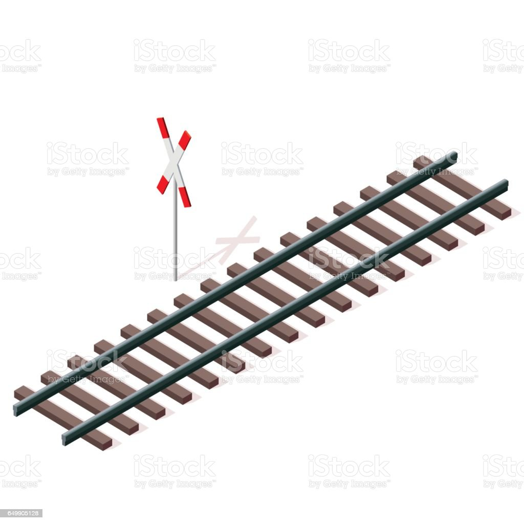 Vektor-Eisenbahn in isometrischen 3D-Perspektive isoliert auf weißem Hintergrund. – Vektorgrafik