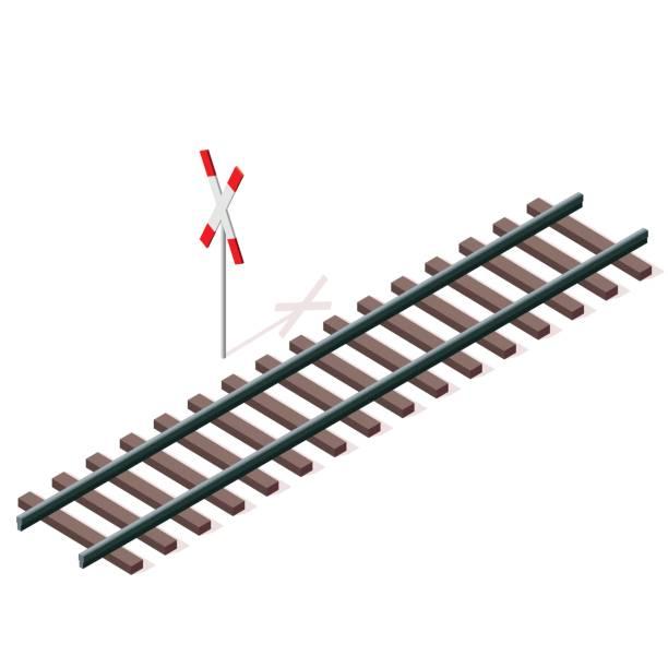 illustrations, cliparts, dessins animés et icônes de chemin de fer vector en perspective 3d isométrique isolé sur fond blanc. - voie ferrée