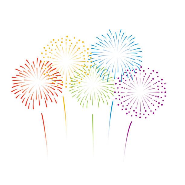 Vector rainbow color fireworks illustration on white background Vector illustration firework display stock illustrations