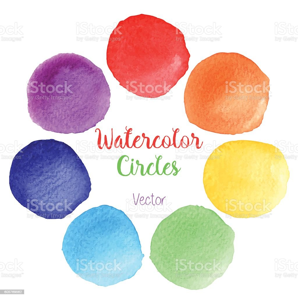 Vector rainbow colors watercolor paint stains vector art illustration