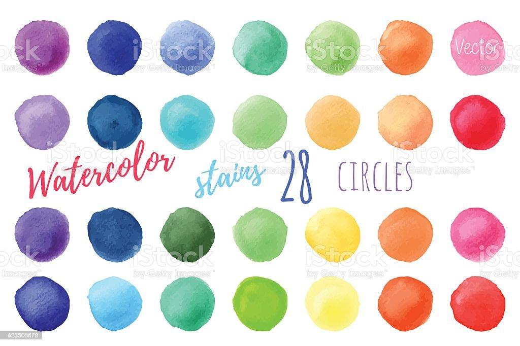 Vektor bunte Farben Aquarell Malen Flecken – Vektorgrafik