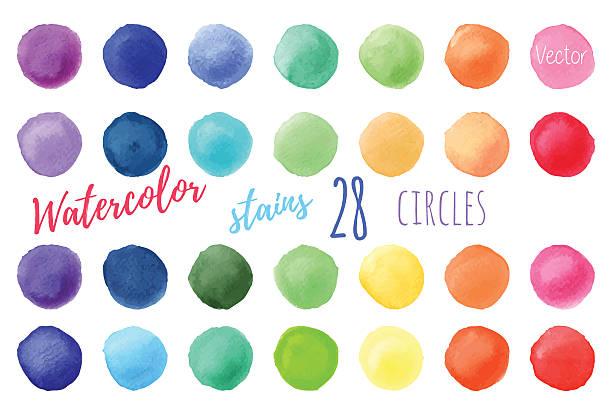 stockillustraties, clipart, cartoons en iconen met vector rainbow colors watercolor paint stains - aquarel