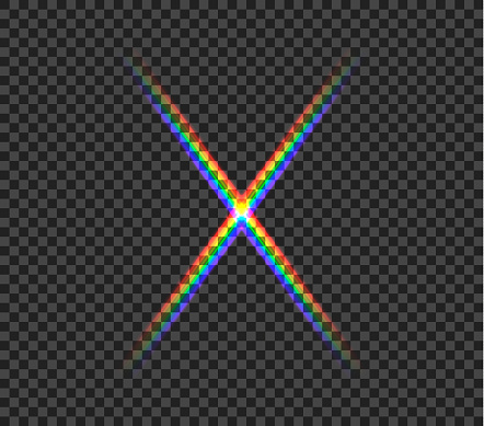 Vector rainbow glowing cross isolated on dark transparent background, abstract light, laser show, spectrum colors.