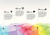 Rainbow network presenting different options, infographic.