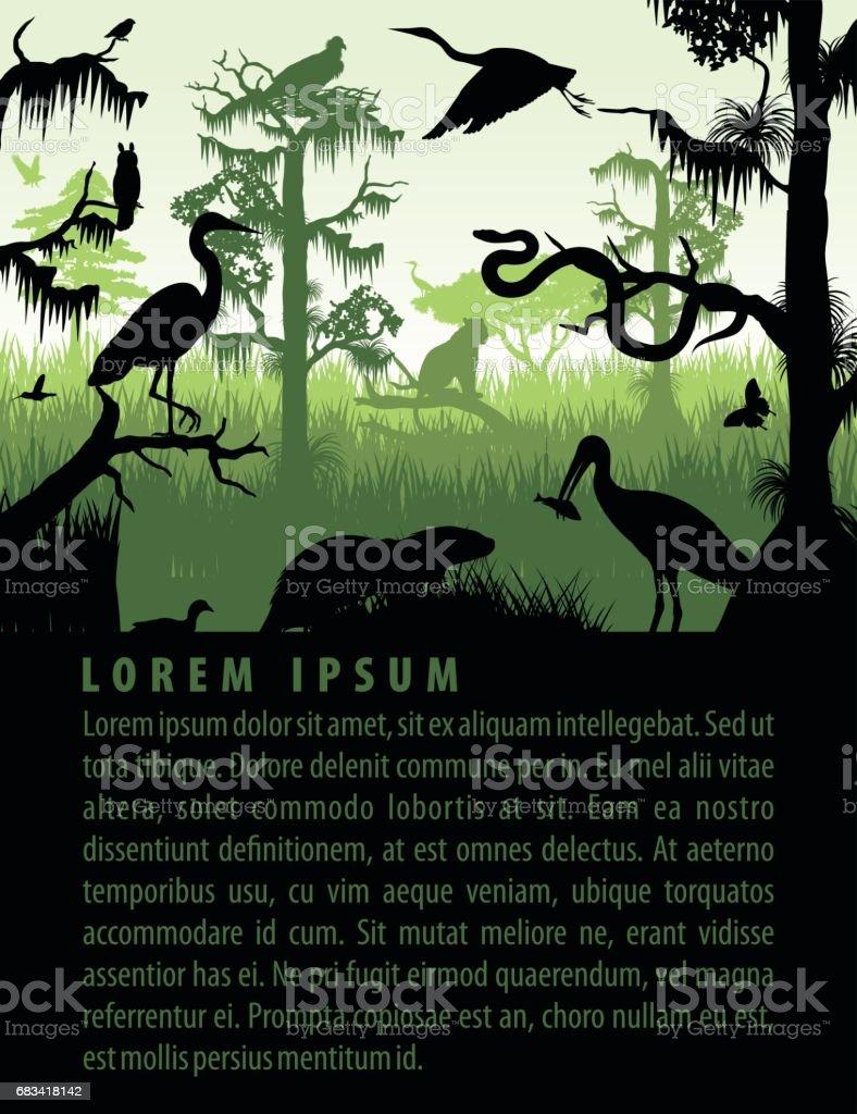 Vector silhuetas de Pantanal da floresta em modelo de design do sol com Garça, lontra, python, ibis. Puma, a águia e a coruja - ilustração de arte em vetor