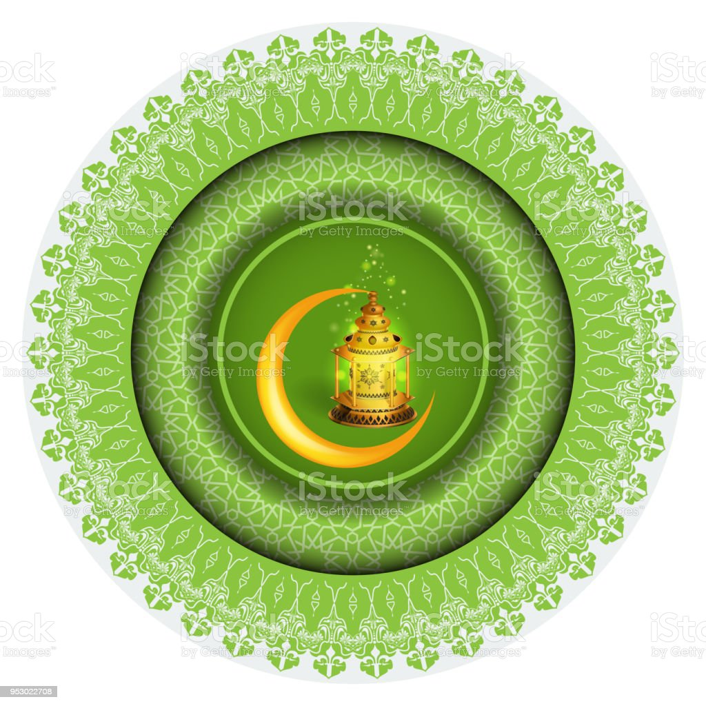 Vector Ramadan greeting ornament pattern background with circle floral border and Ramadan Kareem calligraphy.