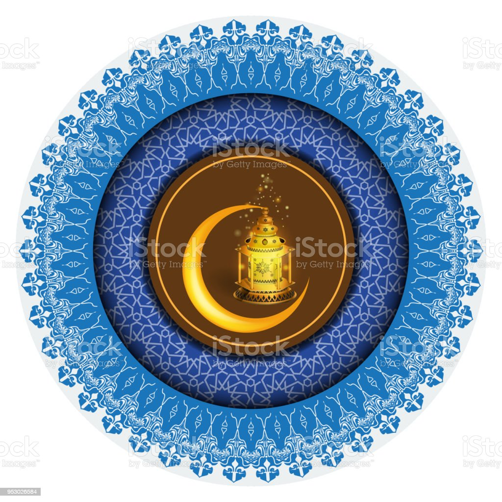 Vector Ramadan greeting ornament pattern background with circle floral border and Ramadan Kareem calligraphy. vector art illustration