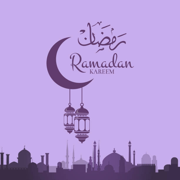 vector ramadan illustration with lanterns hanging - ramadan stock illustrations, clip art, cartoons, & icons